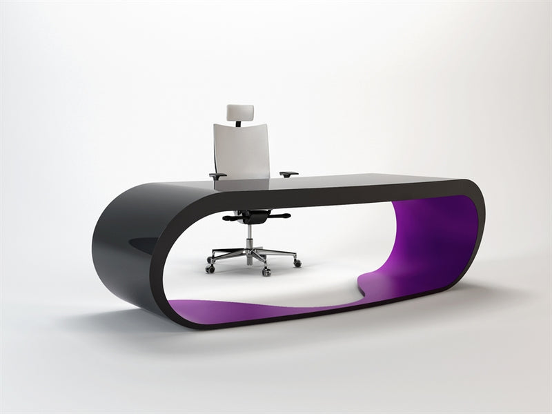 Black Goggle desk with purple inner trim made in Italy