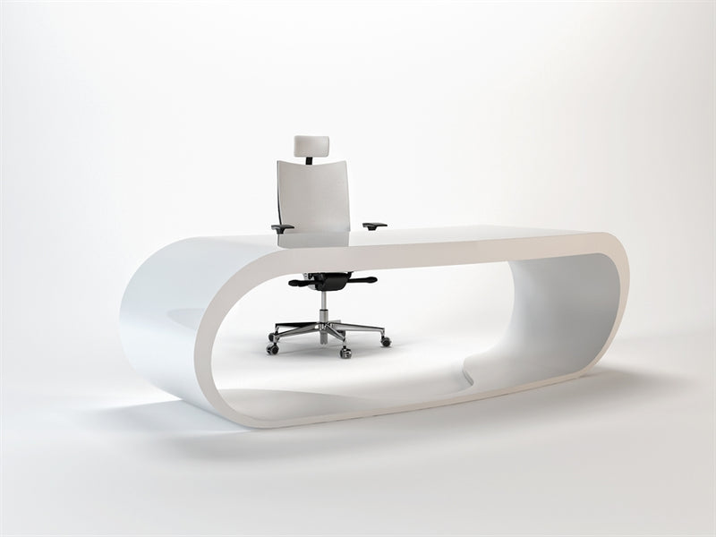 White Goggle desk with white inner trim