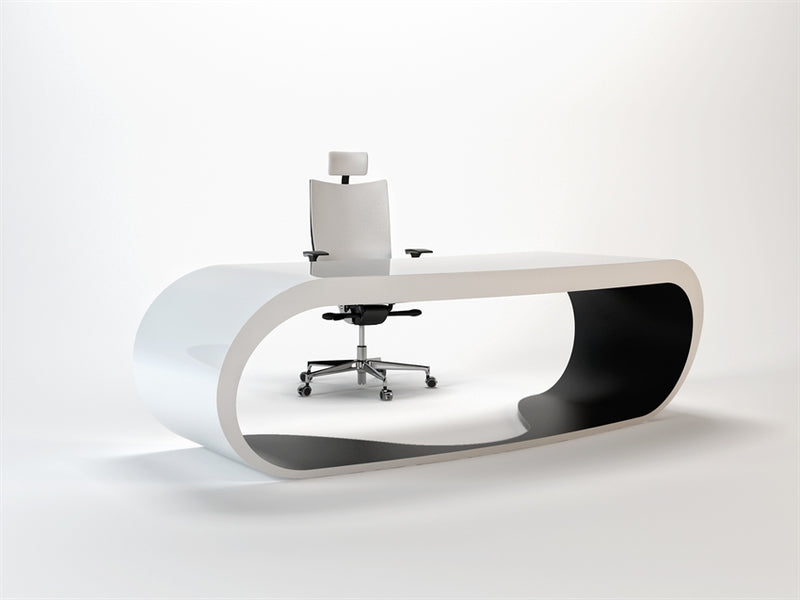 White Goggle desk with dark inner trim