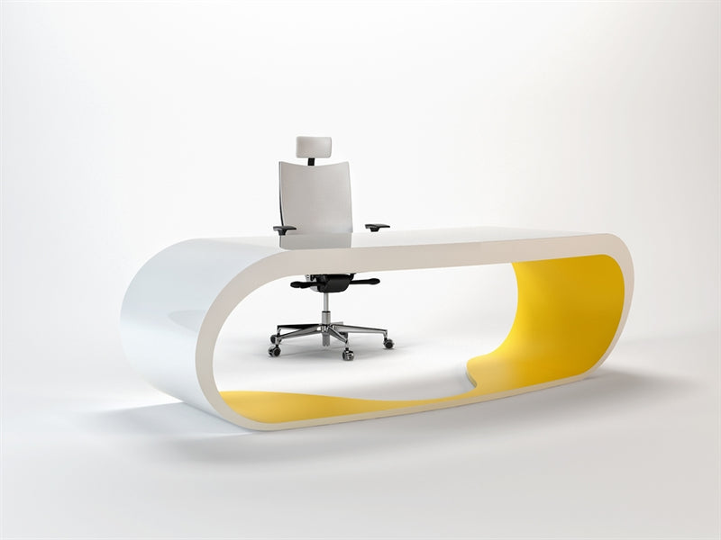 White Goggle desk with yellow inner trim made in Italy