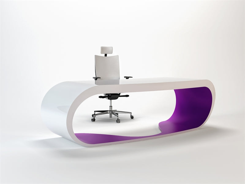 White Goggle desk with purple inner trim made in Italy