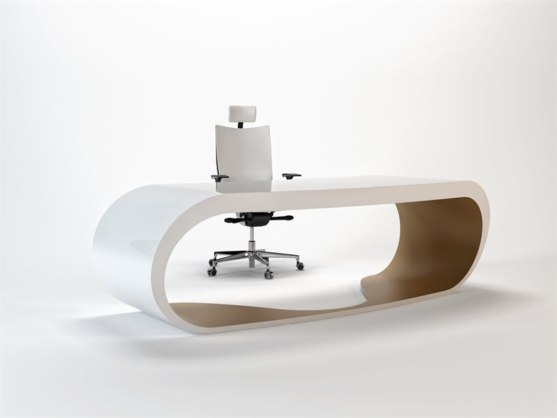 White Goggle desk with tan inner trim made in Italy