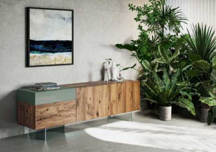 36e8 Sideboard 08004 Argila Polished Glass & Wildwood Naturale -Modern  wood and  colored glass buffet  by Lago made in Italy