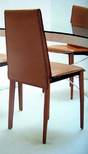 Relaix Side Chair - tan leather Italian dining chair
