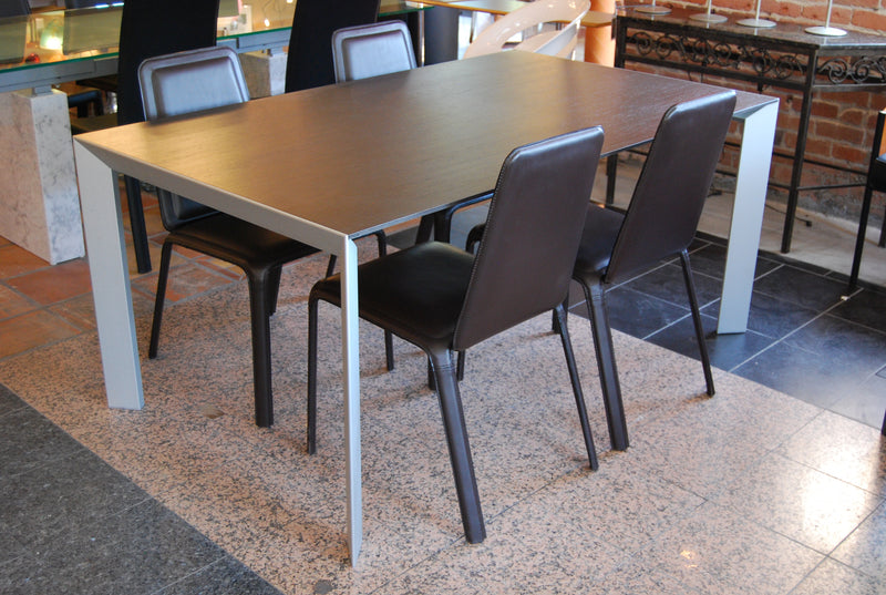 Kristalia Nori Dining Table With Chocolate Top and Aluminum legs