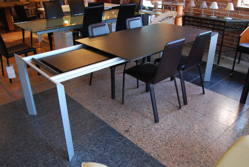 Kristalia Nori Dining Table With Chocolate Top and Expandable Side tables