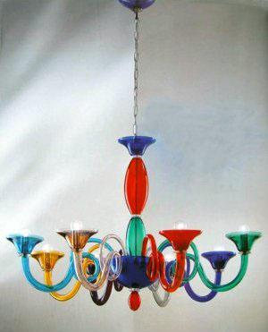 Veneziano Red Glass Chandelier