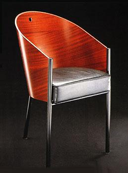 Philippe Starck Dining Chair Article 345 - Wood grain backed Italian chair with metal frame
