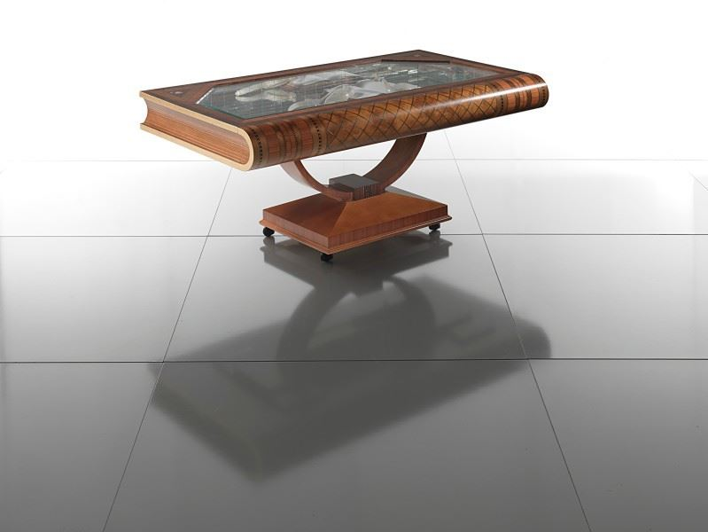 closed view of luxury wooden coffee table shaped like book
