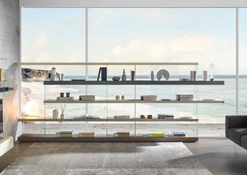 Air Shelf 0558+0558 - Moden Shelf system with glass supports  by Lago made in Italy