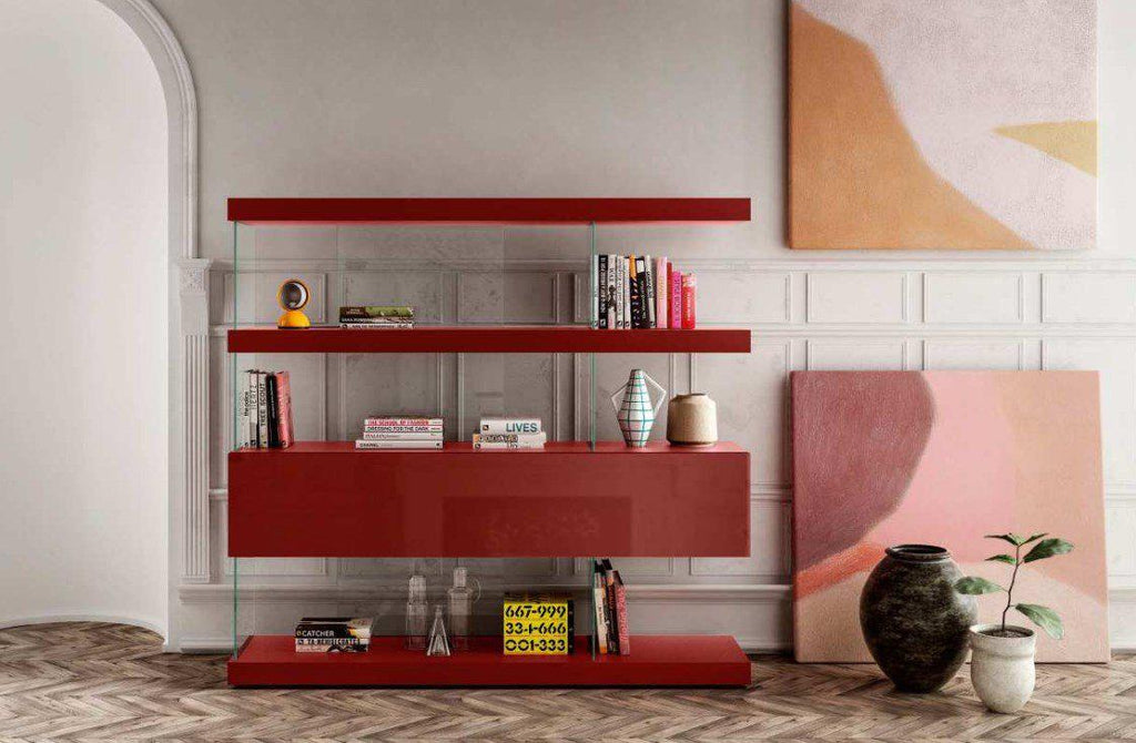 Air Storage 0688 - Storage system in Red Glass by Lago and made in Italy
