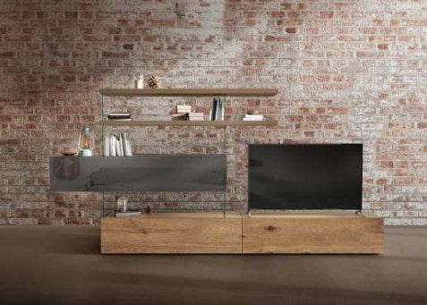 Air Storage 0692 - Modern media system with wood and glass by Lago made in Italy