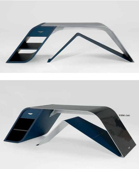 V004 desk by Aston Martin in two positions