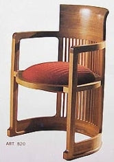 Barrel Chair - barrel shaped wooden chair with red cushion