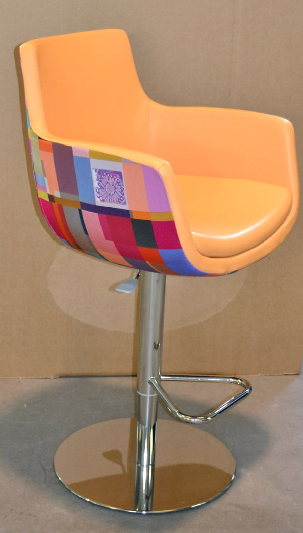 luxury barstool with orange leather