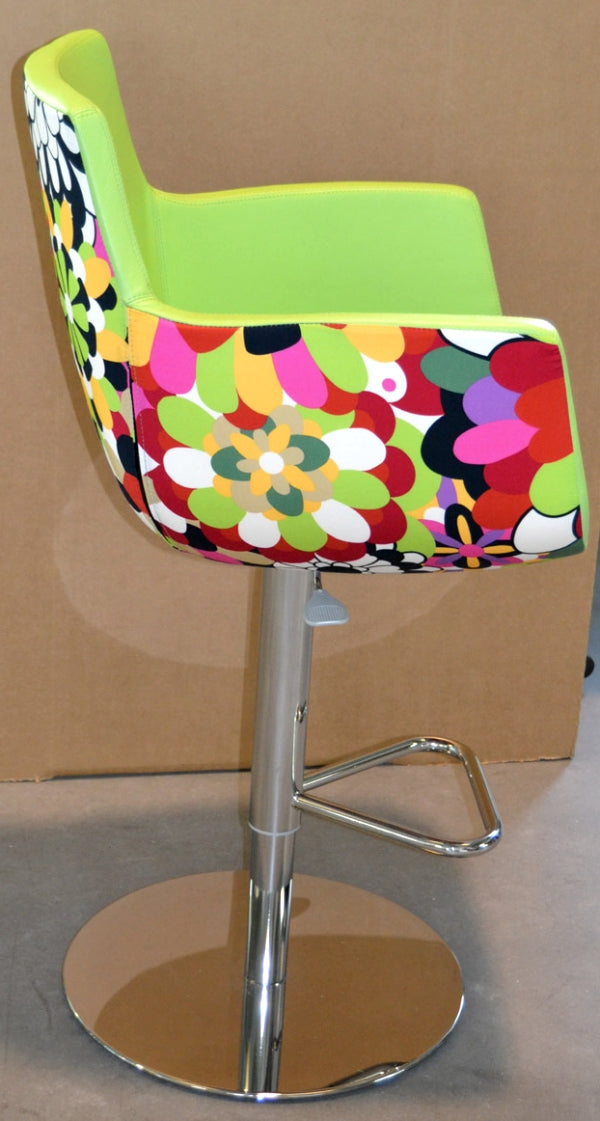 Italian designer barstool with lime green leather