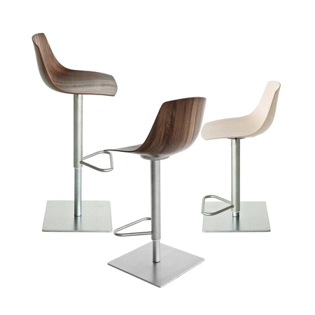 White, black, and wood versions of Italian barstool