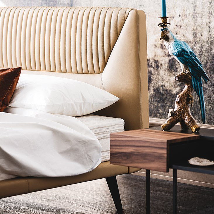 luxury Italian bed by Cattelan Italia with side nightstand