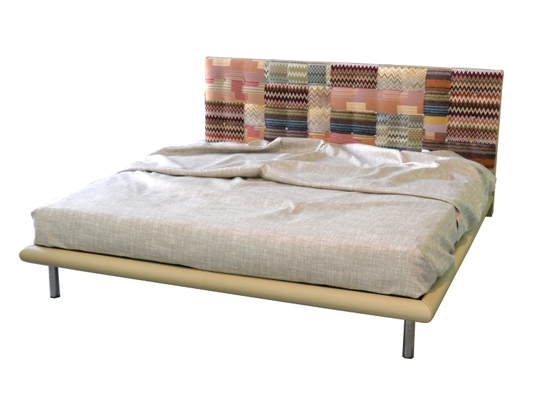 Bed with  MissoniHome  fabric and leather