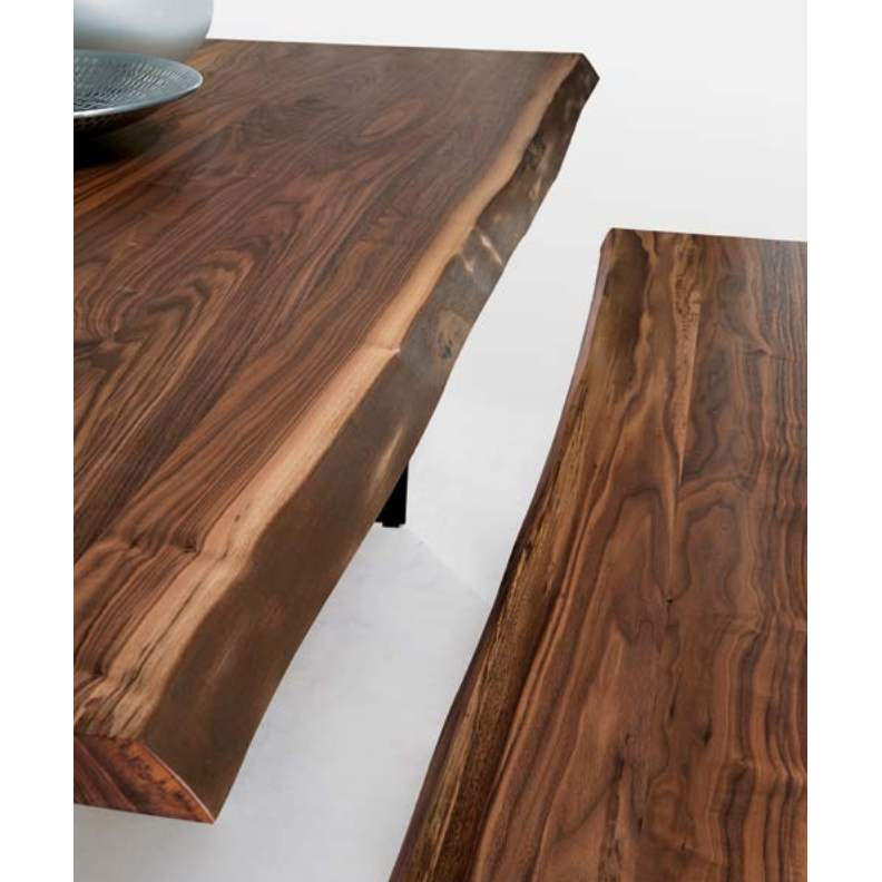 Solid wood rough edge bench and table made in Italy