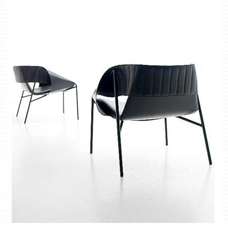 Bend Occasional Chair in black leather