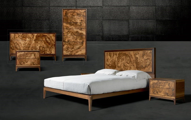 Burlwood Bed and matching bedroom pieces