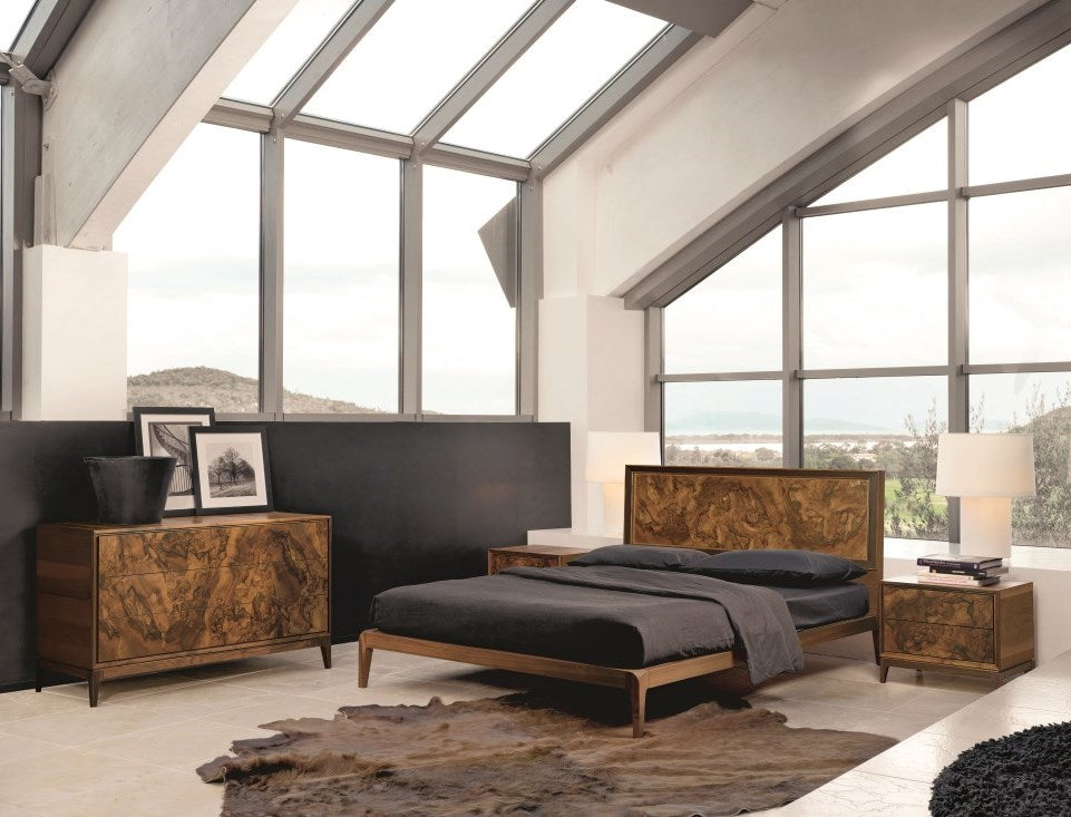 Burlwood Bed - Modern Italian Furniture
