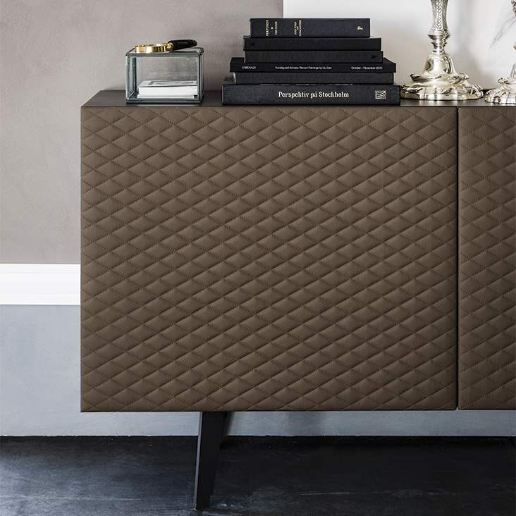 View of quilted front of Cattelan Italia buffet