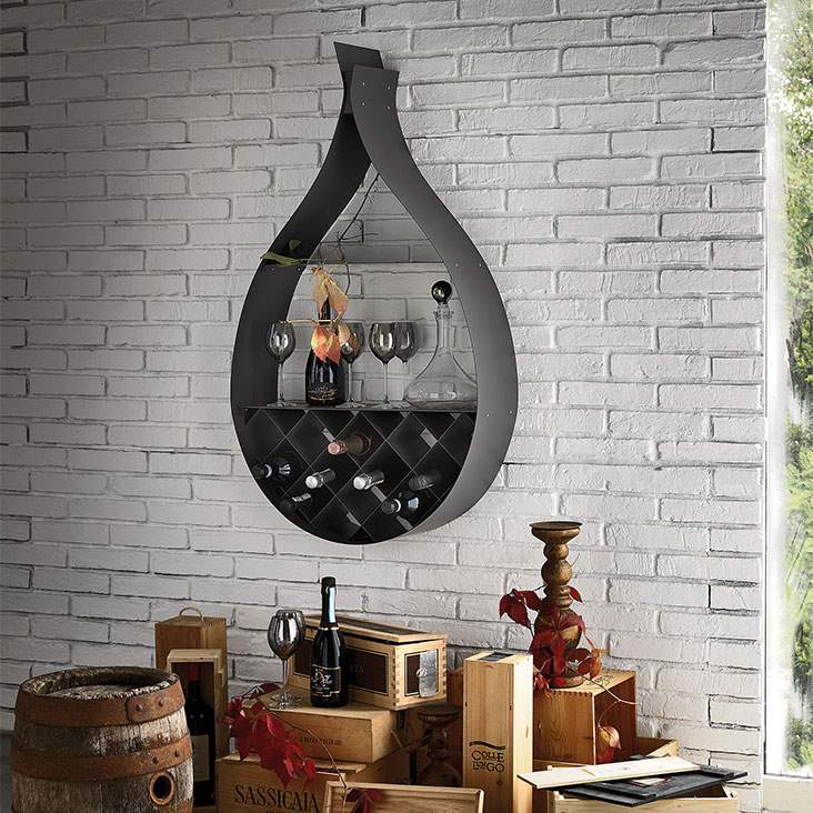 drop shaped Italian wine rack mounted to white brick wall