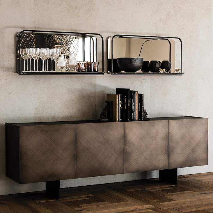 Buffet  with  brushed  bronze doors by Cattelan Italia