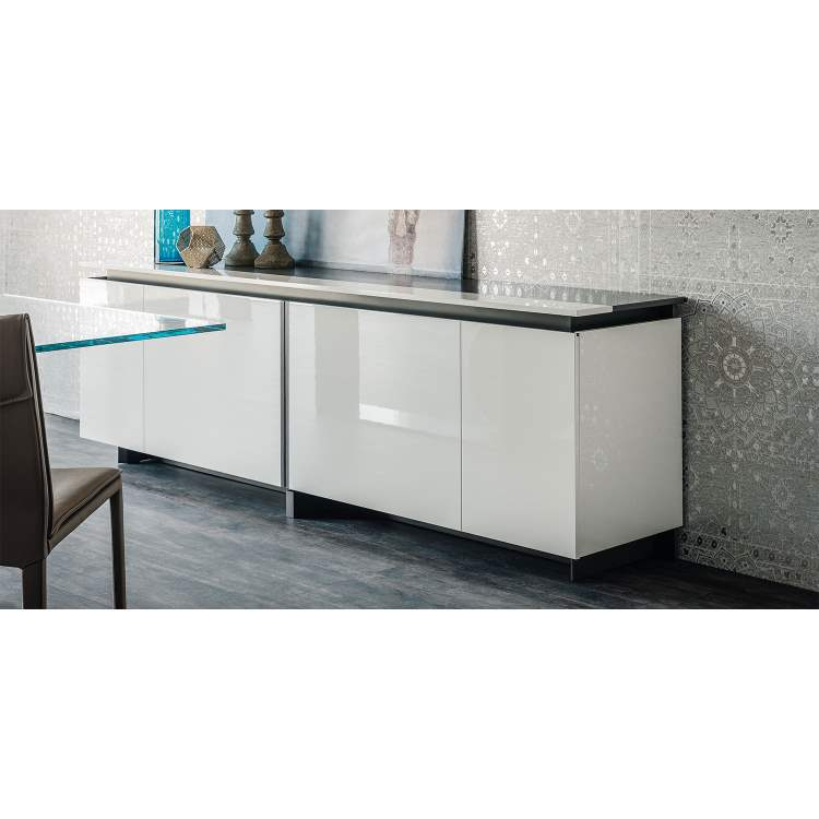 Side view of Europa Italian Buffet with glossy white finish
