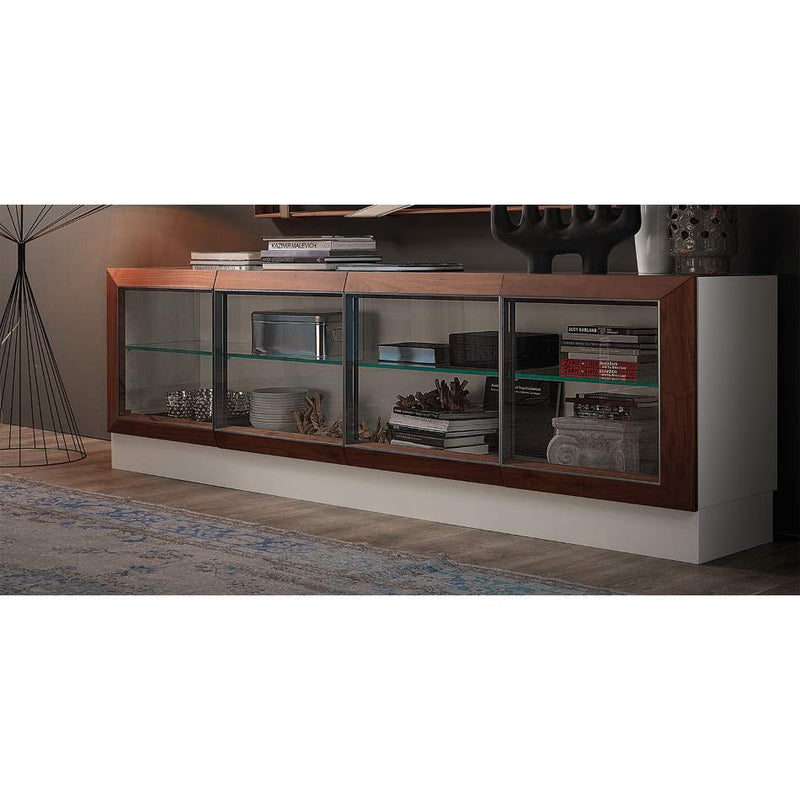 Hilton display cabinet with wood finish