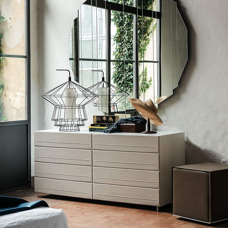 Italian dresser with leather drawers  by Cattelan Italia