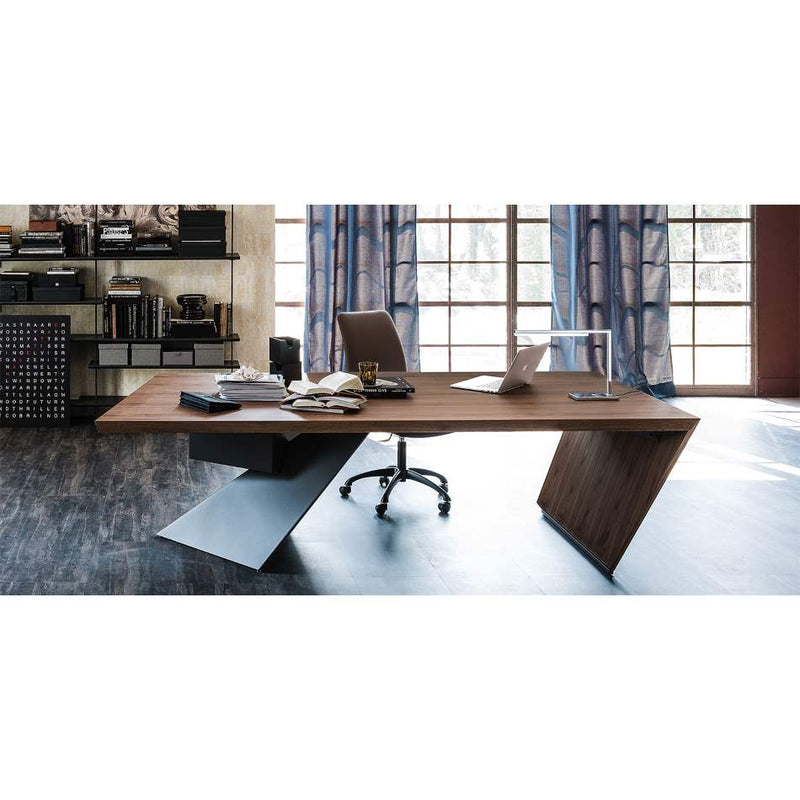 Nasdaq Wooden Italian Desk - Architecurally designed  wooden top desk by Cattelan Italia