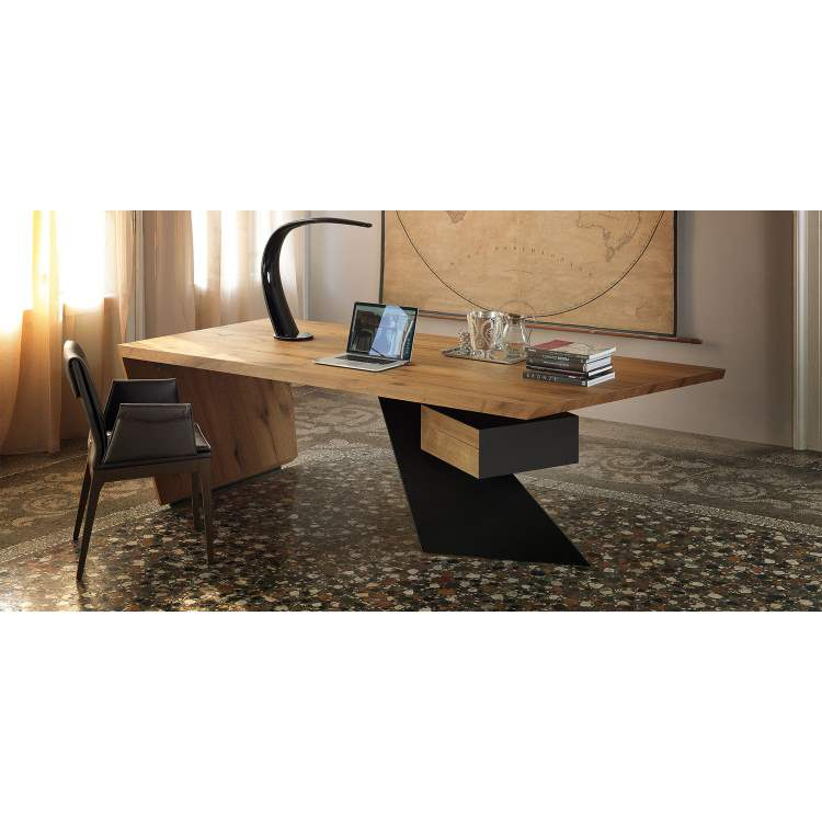 Italian desk with curved lamp and carpet