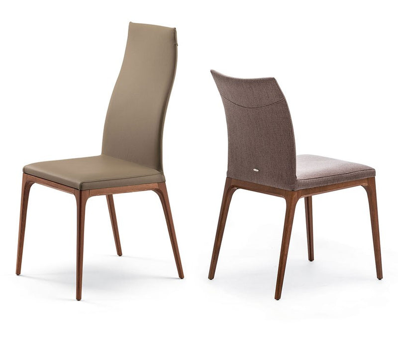 View of Both Heights of Dining chair with leather and wood by Cattelan Italia