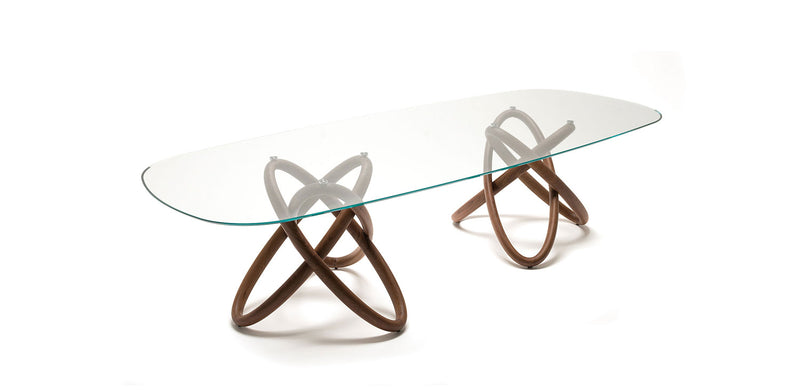 Dining table  glass top wood base Cattelan Italia