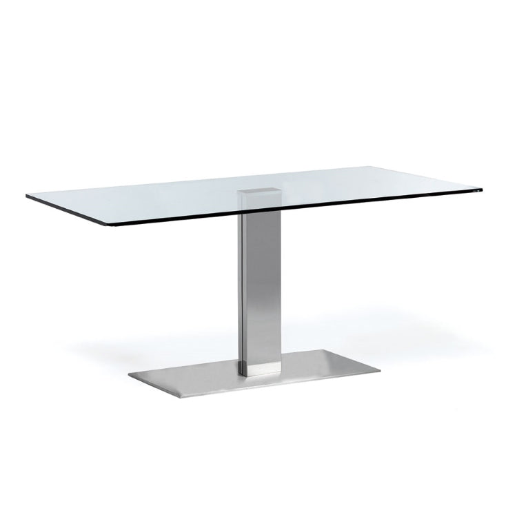 Glass topped and metal based Italian dining table