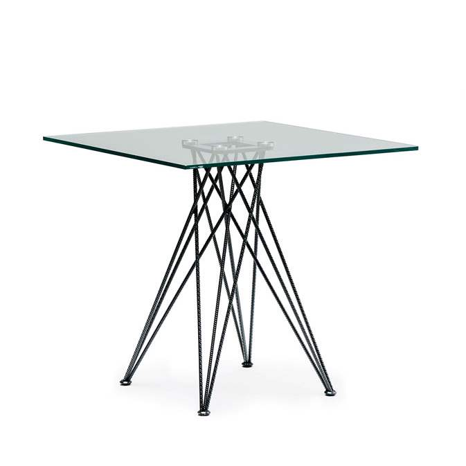 Square glass-topped bistrot dining table