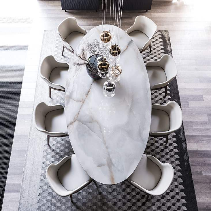 Overhead view of Roll Keramik Italian dining table