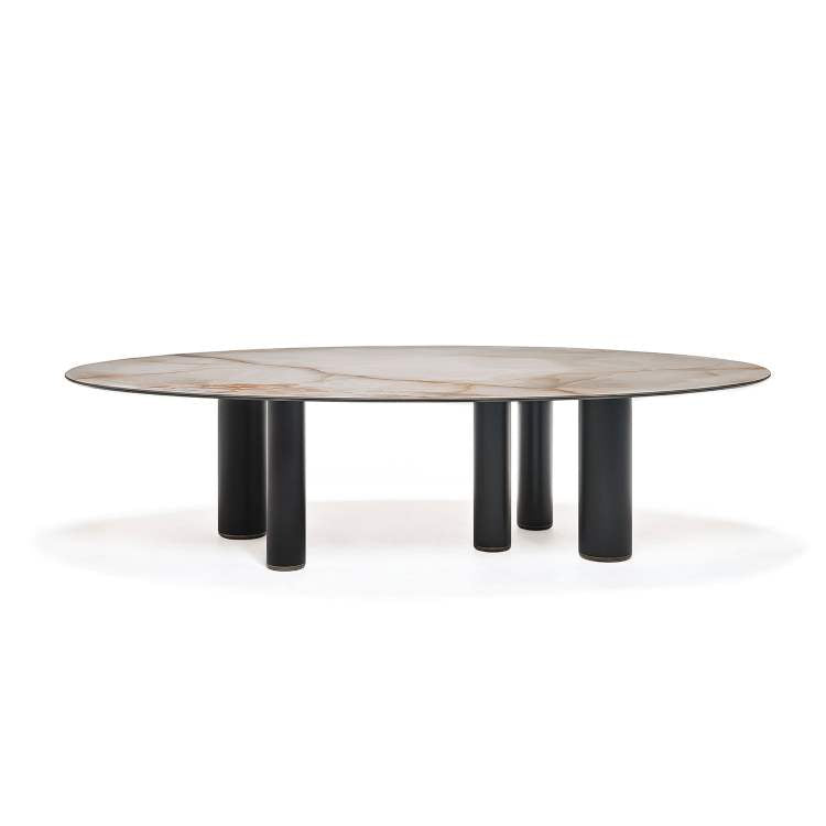 Side view of Roll Keramik dining table
