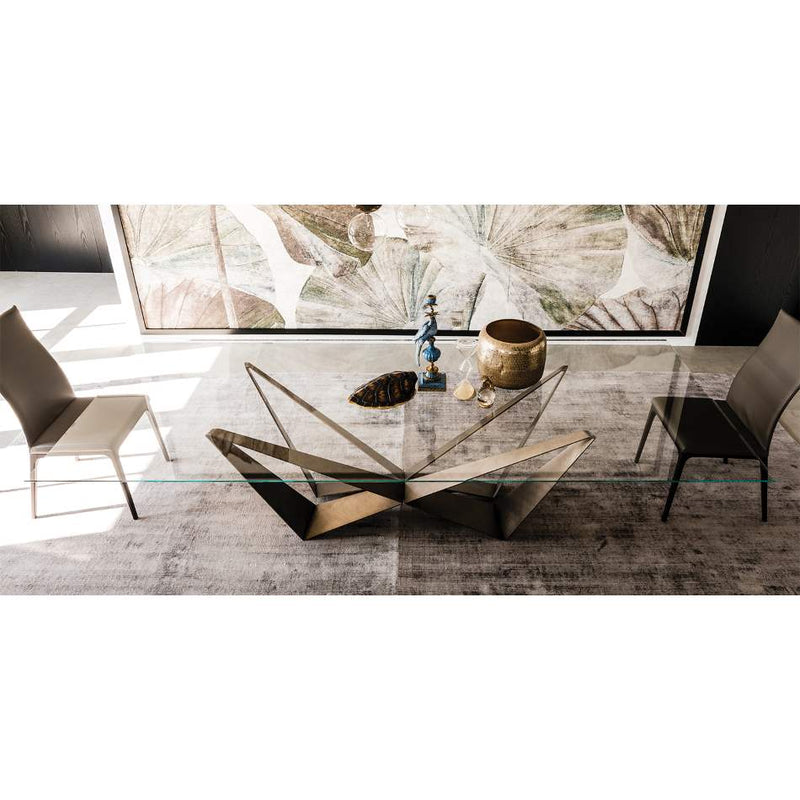 Italian glass topped dining table by Cattelan Italia