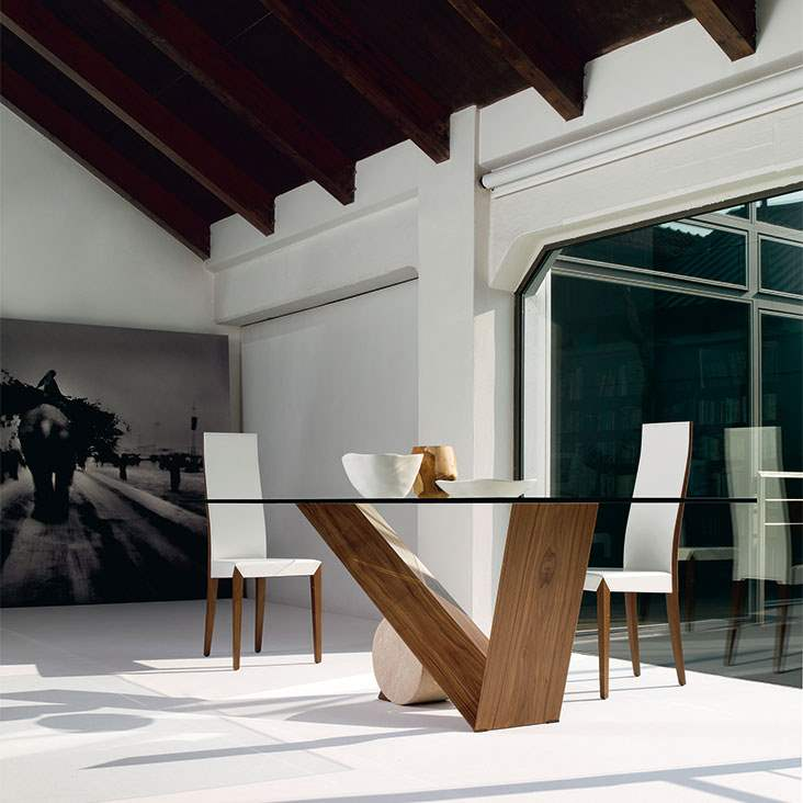 Valentino Dining table with Glass  top made in Italy by Cattelan Italia