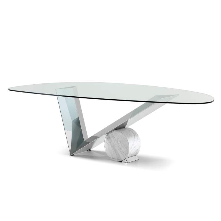 Valentinox glass top dining table with metal base made in Italy by Cattelan Italia
