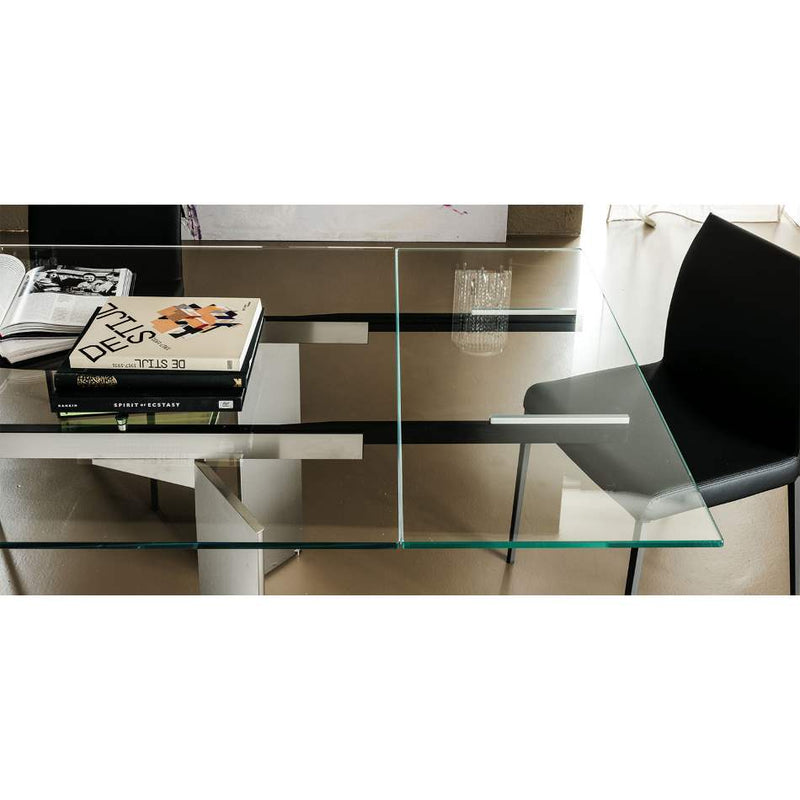 Cattelan Italia glass topped dining table overhead view