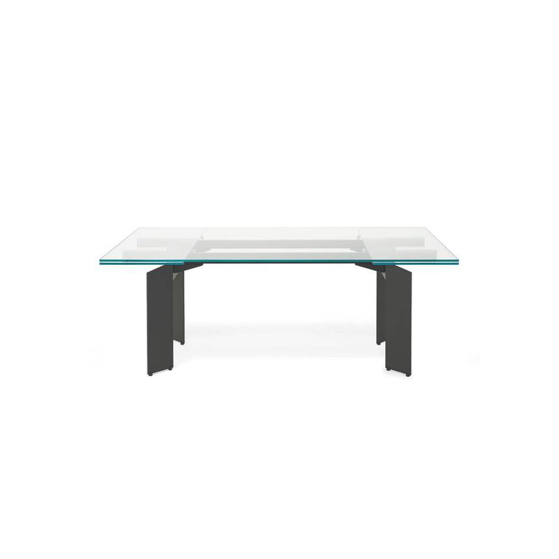 contracted view of expandable Italian dining table
