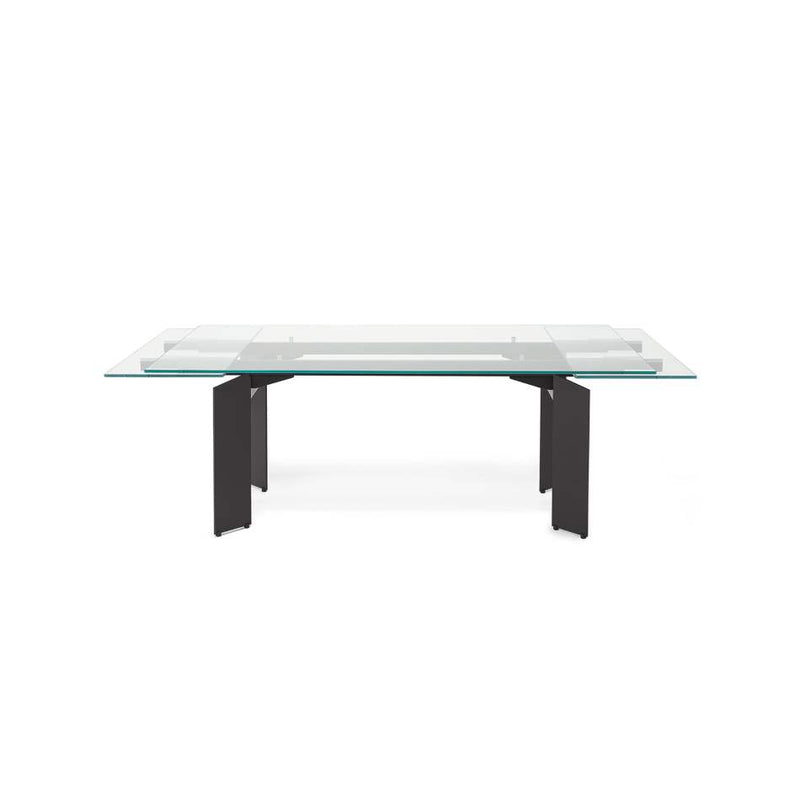 Italian expandable dining table partially extended