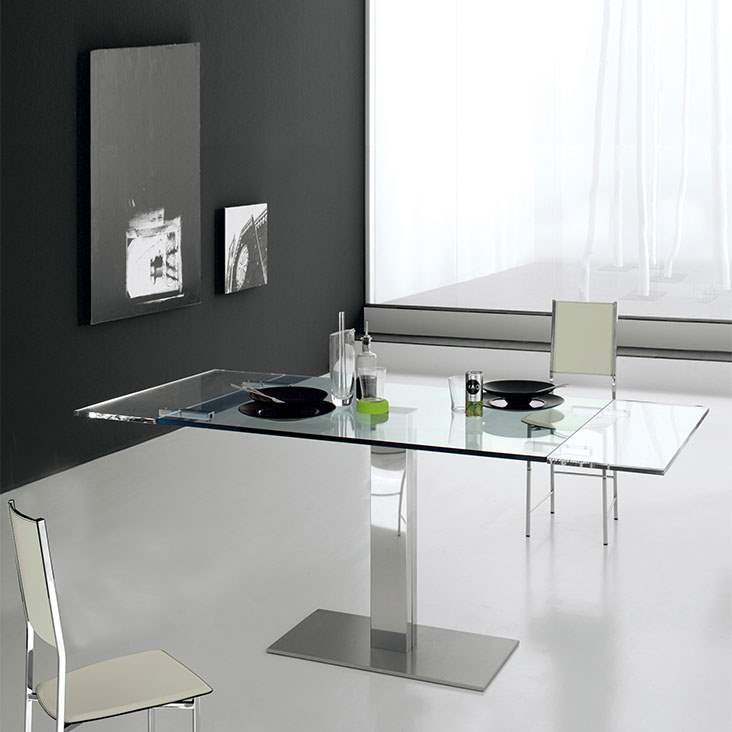 Elvis Drive - Modern expandable glass  kitchen table by Cattelan Italia