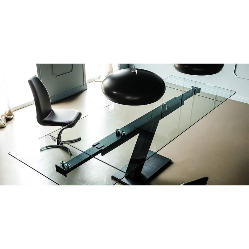 Glass topped expandable dining table by Cattelan Italia