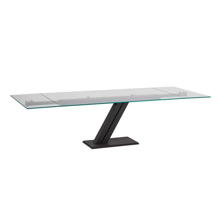 Fully extended view of the Zeus Drive expandable dining table